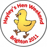 Personalised hen night badge happy striding walking chick
