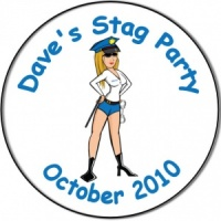 Stag Night party peronalised badge sexy woman police officer with handcuffs