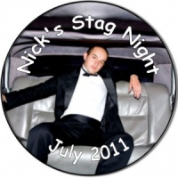 Stag Night Photo Personalised custom badge use photo as background