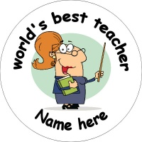 Personalised custom badge Education and School worlds best teacher female