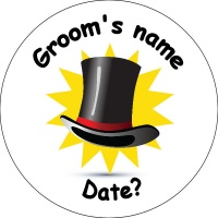 Wedding Personalised Badge grooms top hat