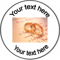 Wedding Personalised Badge rings on certificate