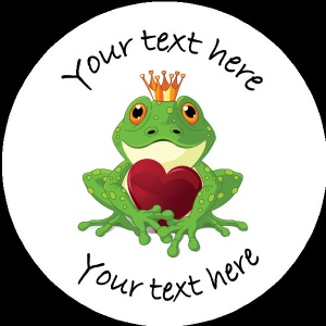V002 Personalised Custom Badge Valentines Day Frog holding heart