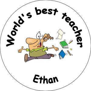 Personalied custom badge Education and School worlds best teacher