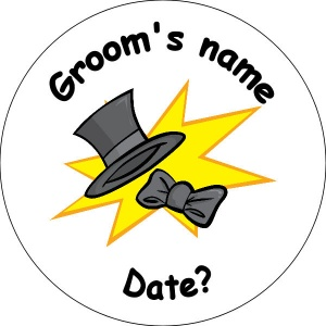 Wedding Personalised Badge grooms top hat with bow tie