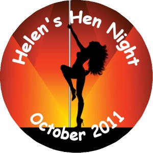 Hen Night Party personalised badge pole dancer on red background