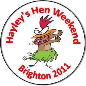 Hen night party personalised badge with a chicken hen wearing a hula skirt