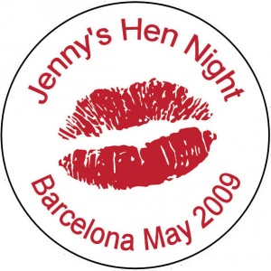Personalised custom badge hen night party Kiss lips