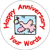Happy Anniversary Badge bird with ring