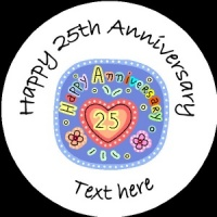 A008 Happy Anniversary Badge happy 25th any text background colour