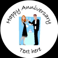 A012 Happy Anniversary Badge couple with cake any text/number/background colour