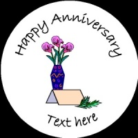 A017 Happy Anniversary Badge flowers and small card any text/number/background colour