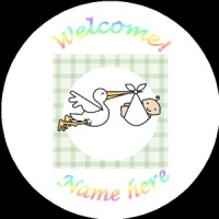 B005 New Baby Badge with stork any text background colour