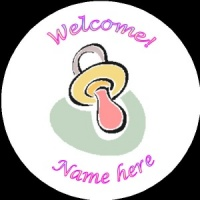 B007 New Baby Badge with pastel dummy any text background colour