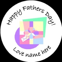 D002 Fathers Day Badge pastel any text background colour