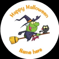 HA011 Personalised Halloween Badge witch on broomstick with black cat