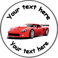 Personalised custom badge birthday with red sports car