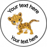 Personalised custom badge birthday baby cheetah jaguar