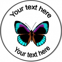 Personalised custom badge birthday blue butterfly