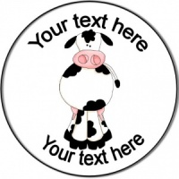 Personalised custom badge birthday cow farm animal