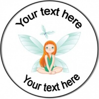 Personalised custom badge birthday fairy watching butterfly