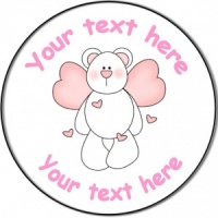 Personalised custom badge birthday teddy bear with hearts